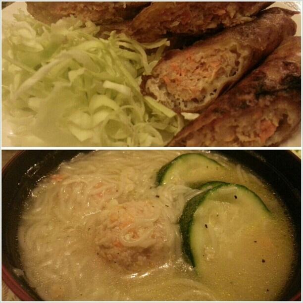 #晩ごはん #揚げ春巻き と#フィリピン の#にゅうめん っていうか、#ラーメン じゃ無いな。 #ミスワ #springroll#shanghai and #miswa for #dinner #yummy#filipino#food#noodle#cook#cooking#philippines