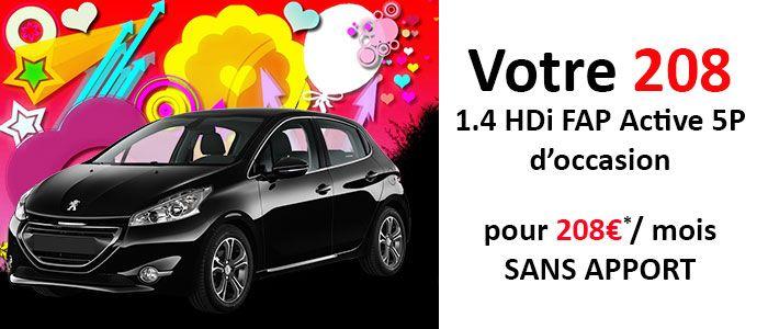 Offre LOA Peugeot 208 1.4 HDI FAP Active 5P d'occasion à partir de 208€/ mois SANS APPORT à saisir chez le concessionnaire Peugeot Bourg-en-Bresse sans plus attendre !