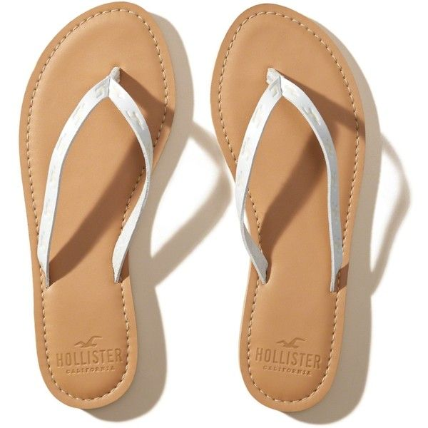 Hollister Vegan Leather Icon Flip Flop (115 MAD) ❤ liked on Polyvore featuring shoes, sandals, flip flops, white, vegan footwear, faux leather flip flops, vegan sandals, white shoes and faux leather sandals