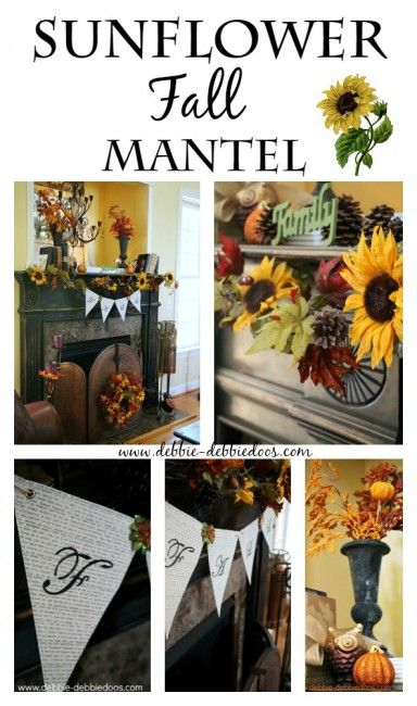 Sunflower Fall Mantel & DIY Bunting Banner - Debbiedoo's