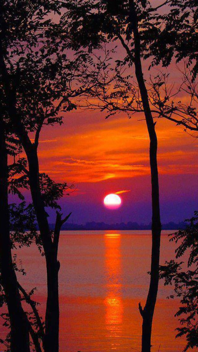 This picture shows a sunset with the primary colour yellow, and the secondary colours purple and orange.