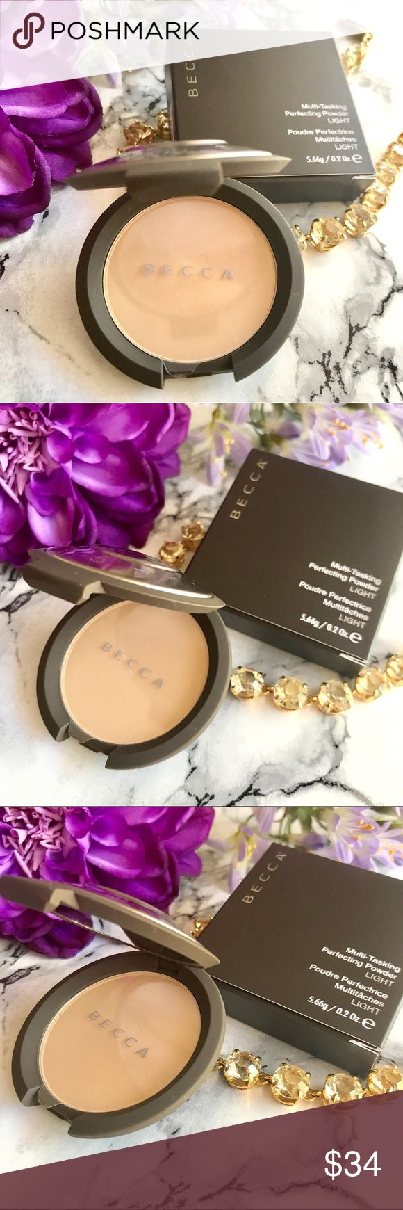 🆕 NIB 💕 Becca Multi-Tasking Perfecting Powder 🆕 NIB 💕 Becca Multi Tasking Perfecting Powder in LIGHT 🍃 Full Size .2 oz 🍃 Perfect for someone the the go and need a powder or setting powder. This one does it all! Water 💦 resistant , with antioxidants pure mineral for silky finish. Buildable coverage! 💕 Always NEW, Always Authentic! 💕 BECCA Makeup Face Powder
