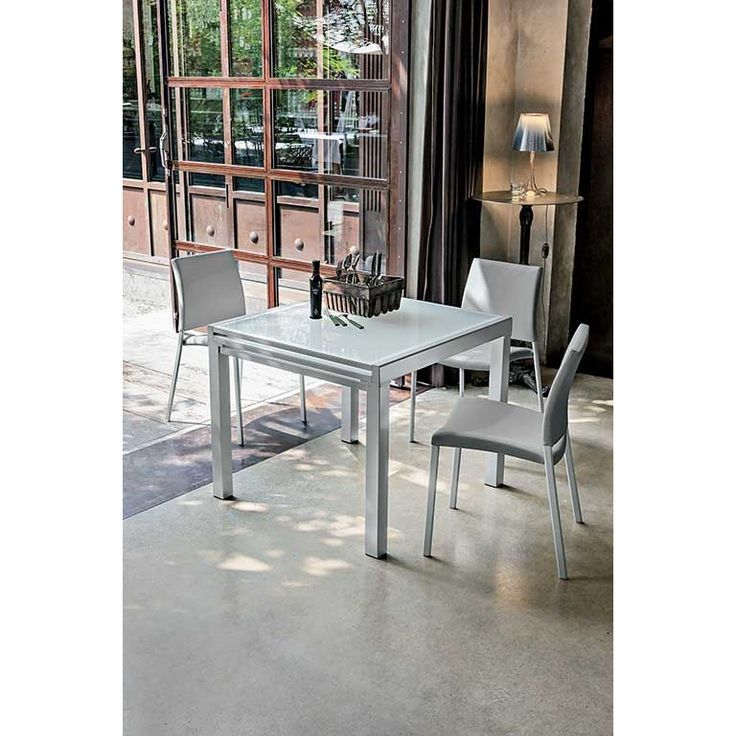 Tavolo quadrato allungabile in vetro Target Point Vega 90