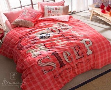 Купить подростковое постельное белье из ранфорса GENC MODASI GOOD NIGHT розовое евро от производителя Tac (Турция)