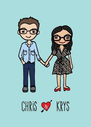 Custom Made Custom Doodle Illustration For A Couple (2 People) In Diy Printable Format