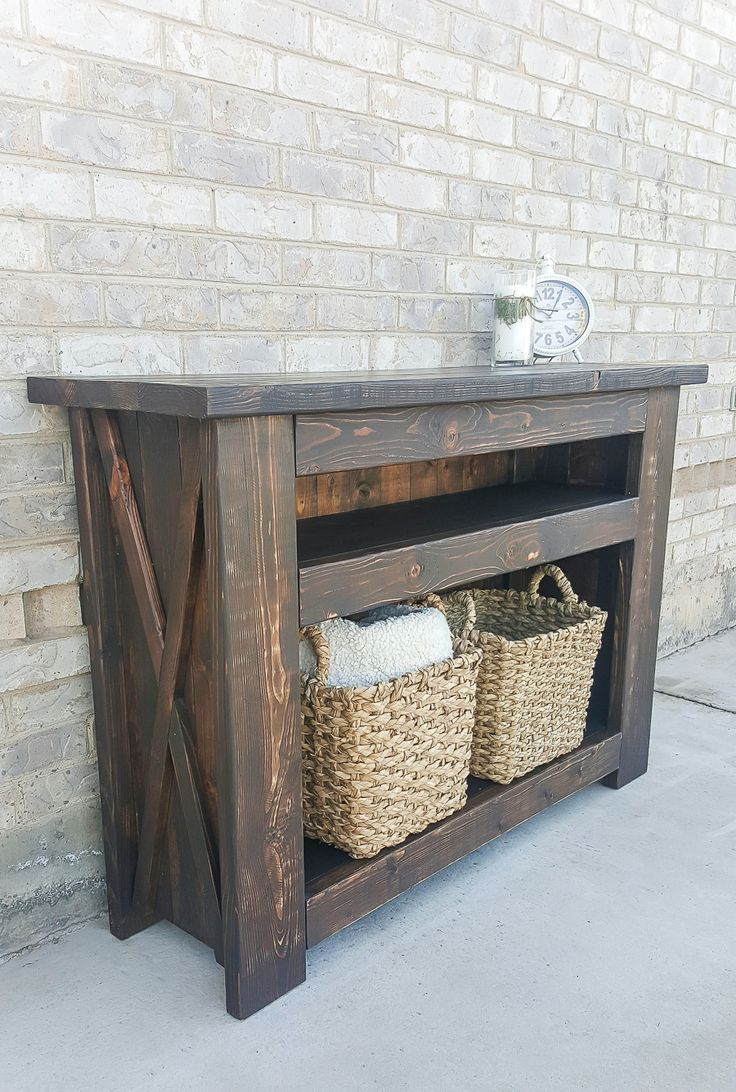 Learn how to build a rustic farmhouse DIY Chunky X Media Console with free building plans by Jen Woodhouse of The House of Wood.