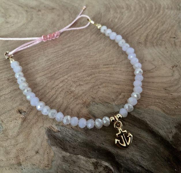 Armbänder - Perlen Armband rosa mit Anker gold - ein Designerstück von saniLou bei DaWanda