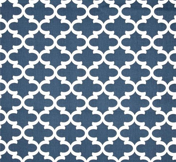 navy blue nautical home dcor fabric by the yard by cottoncircle - Home Decor Fabrics By The Yard