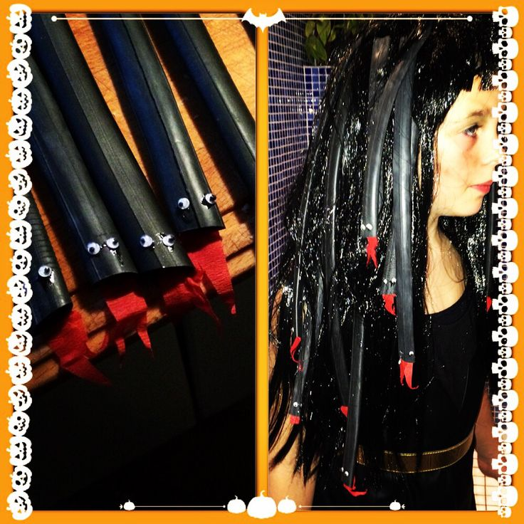 DIY Meduza Wig.  Made of a cheap Wig and bicycle tubes.