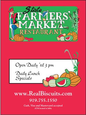 Menu at the State Farmers Market Restaurant   Raleigh NC