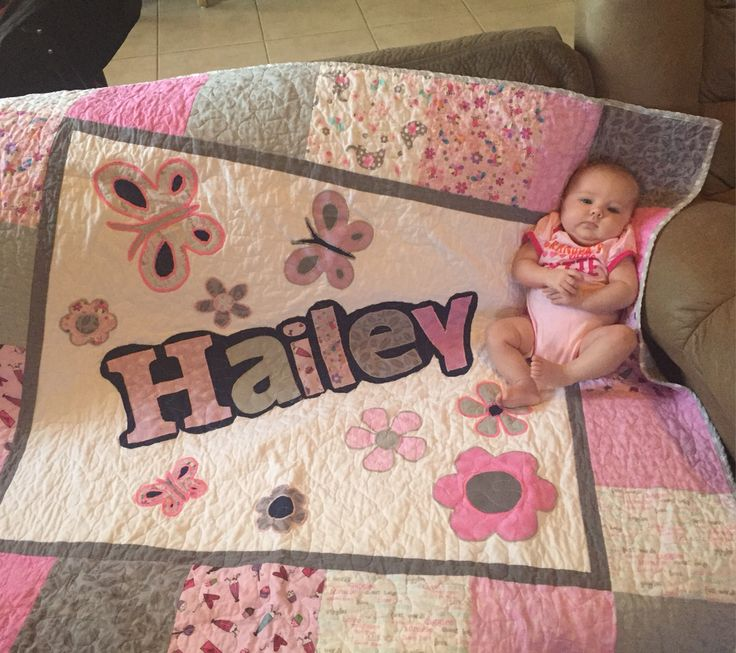 A quilt for a friends baby girl. I love to personalize quilts