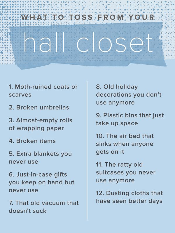 100 Things To Toss From Your Home In The New Year. Hall Closet OrganizationTossedHousekeepingHousehold  TipsClutterCleaning ...