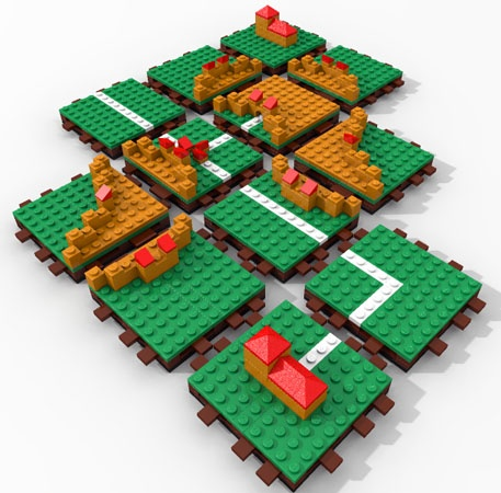 Carcassonne board game made of legos.