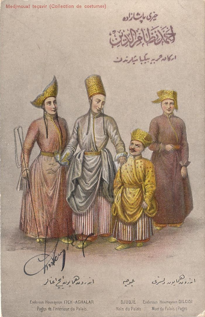 """Ottoman Turkey, Costumes, Medjmouaï Teçavir (1910s) Fruchtermann No. 120. Max Fruchtermann, 1852-1918. The most prominent early publisher of Ottoman postcards, at the age of seventeen he opened a frame-shop at Yüksekkaldirim Istanbul. It is hard to underestimate his role in the publishing scene that followed. He was one of the first """"editeurs"""" (if not the very first) to create postcards depicting the Ottoman Empire."""