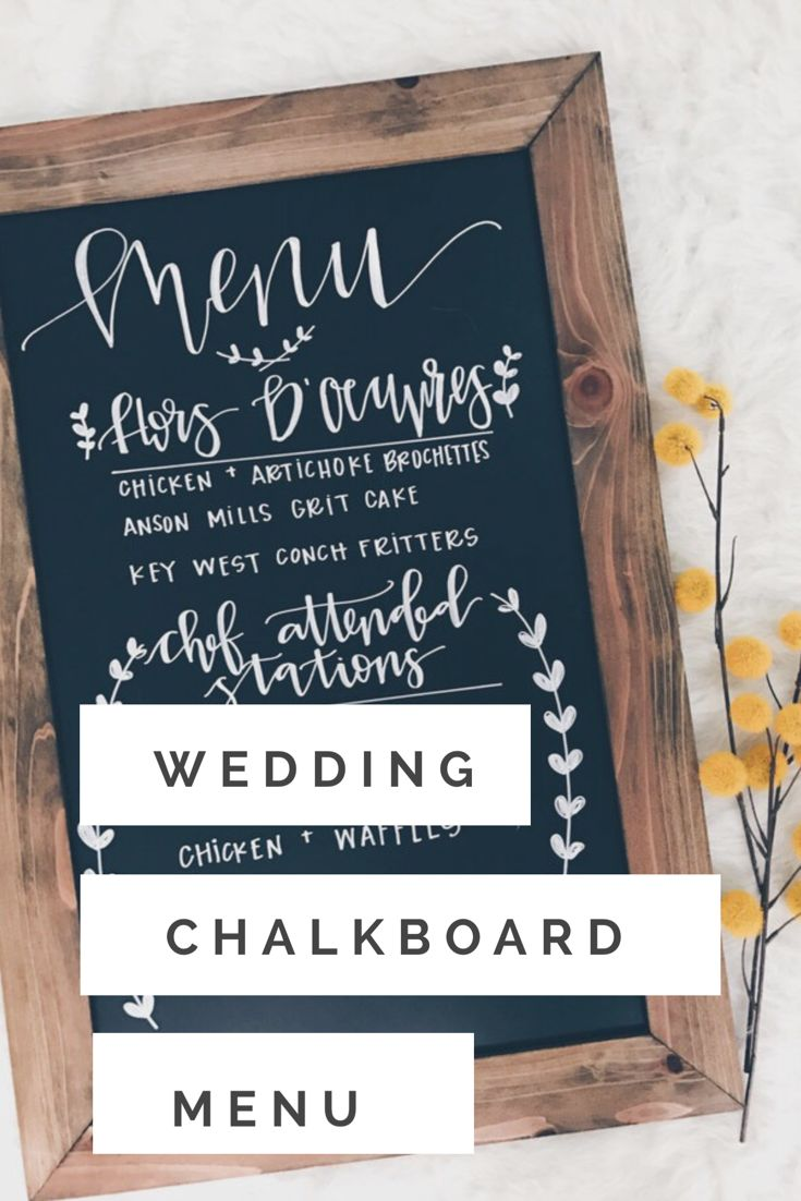 Wedding menu chalkboard with white handwritten calligraphy. Perfect for your rustic wedding #afflink