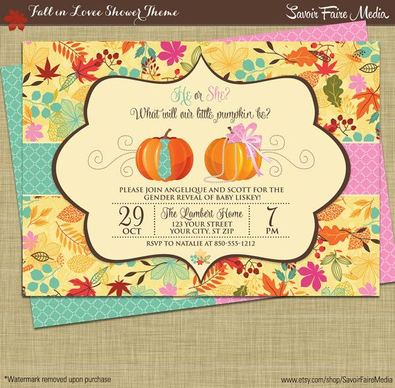Fall Gender Reveal Invitation // Pumpkin Patch Autumn Theme Gender Reveal Party Printables // Boy or Girl Theme // Leaves Fall Autum Theme by sfmprintables