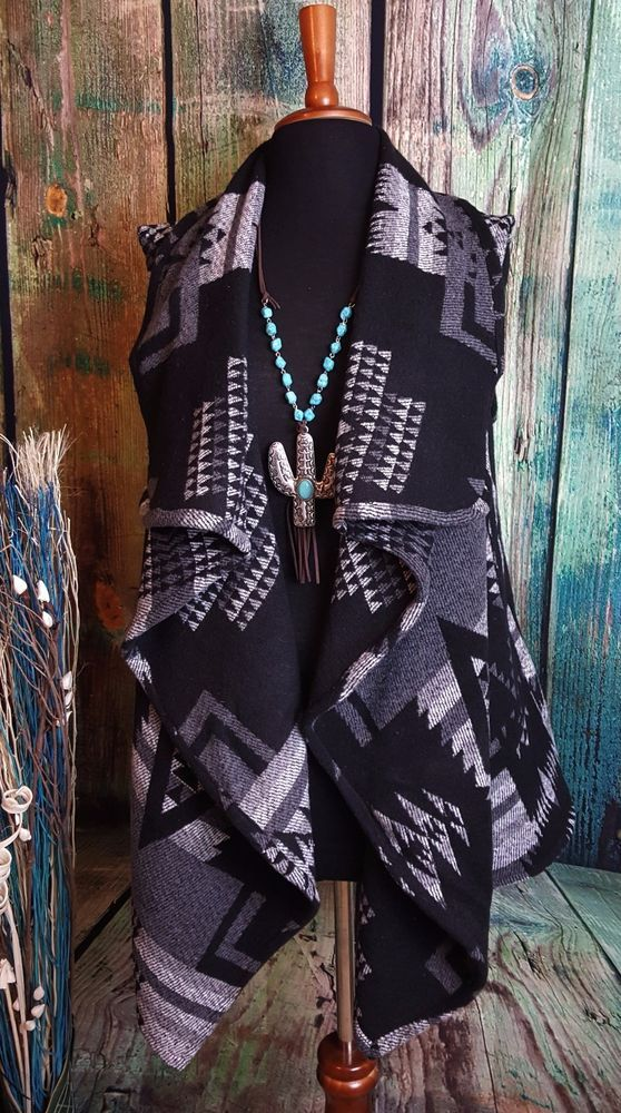 Cowgirl VEST AZTEC BLANKET Western Fall Gypsy Winter WARM Shawl Collar nwt M L #mejane