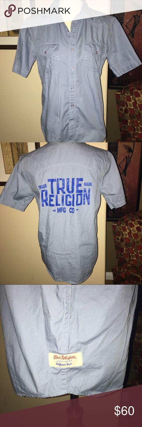 TRUE RELIGION MENS BUTTON DOWN COTTON SHIRT True religion button down short sleeves shirt with stencil on back. Unisex, I wore this myself. True Religion Shirts Casual Button Down Shirts