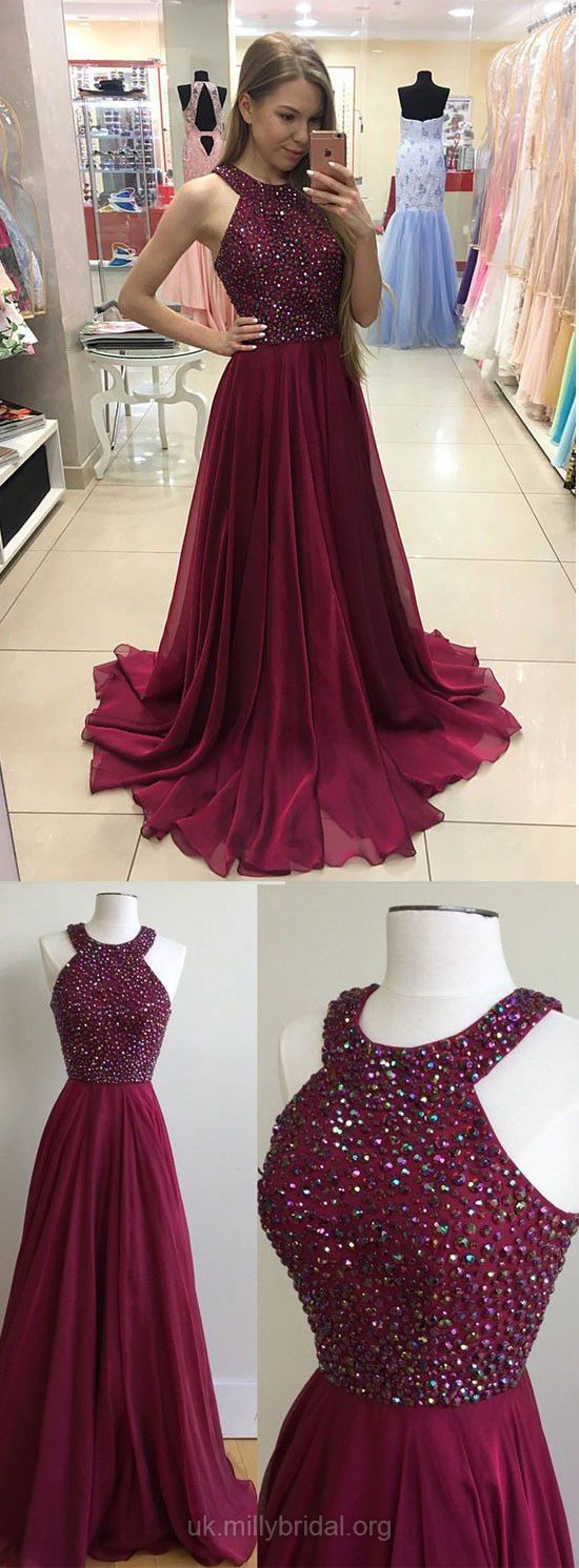 Burgundy Prom Dresses Long,A-line Formal Dresses Modest,Scoop Neck Party Dresses Chiffon with Beading, Sexy Evening Dresses 2018