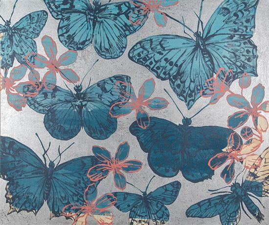 DAVID BROMLEY (BORN 1960)   Butterflies   acrylic and silver leaf on canvas   150 x 180cm   Estimate $ 8000 - $12000