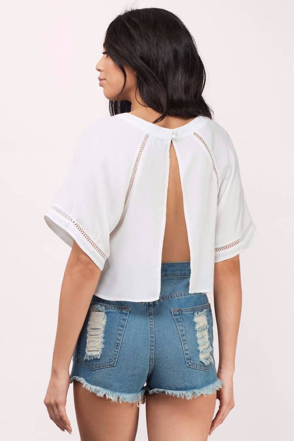 """Search """"Sweet Escape Ivory Crop Top"""" on Tobi.com! white ladder trim split open back short sleeve cropped blouse #ShopTobi #fashion #summer #spring #vacation Basic outfit simple easy chic fashionable stylish style fashion vacation travel essential capsule wardrobe must have casual comfy comfortable trendy spring summer shop buy cheap inexpensive ideas for women teens cute edgy closet fall college outfit outfits"""