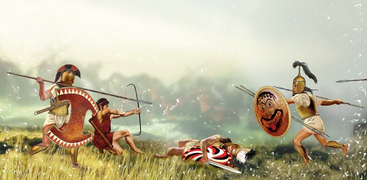 Dark Age/Geometric or Homeric Greek hoplites in battle. Circa 800-600 B.C. ~ artist Sandra Delgado
