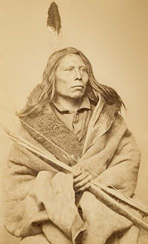 An unidentified Pawnee man. Circa 1868. Photographer not noted.
