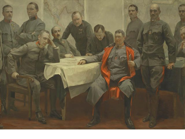 Jehudo Epstein (Polish, 1870-1946) Portrait of Field marshall Hermann Kövess von Kövesshaza as General of the Infantry with the staff of the 3rd Army Command in 1916