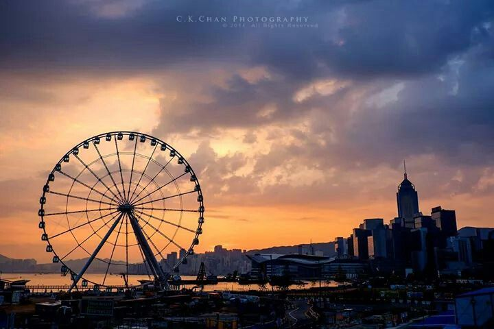 Beautiful sunset with Hong Kong Observation Wheel