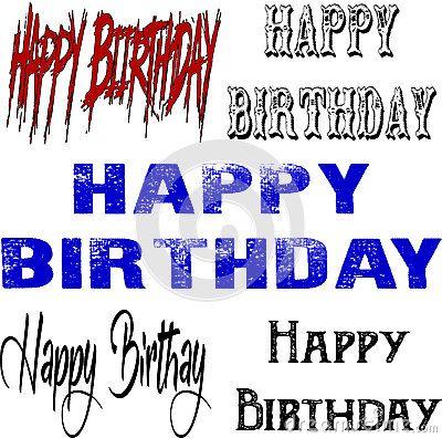 Illustration of text 'Happy Birthday  on white background.