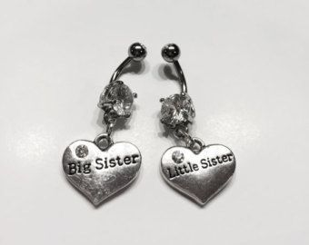 2 Belly Button Rings Big Sister Little Sisters BFF Best Friends Forever Belly Ring Set