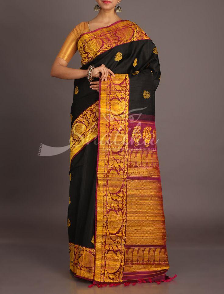 Neera Black With Bold Jute Motifs Plush Purple Border Pallu Jute Silk Saree