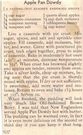 """Apple Pan Dowdy recipe from 1937.  """"Shoofly Pie & Apple Pan Dowdy"""". I can't get enough of that wonderful stuff!"""