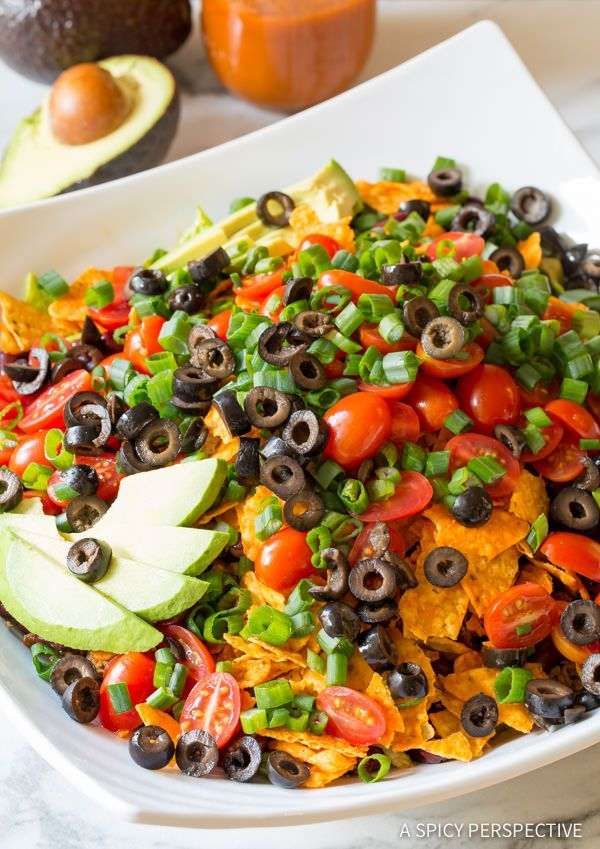 How to Make The Ultimate Dorito Taco Salad Recipe   ASpicyPerspective.com