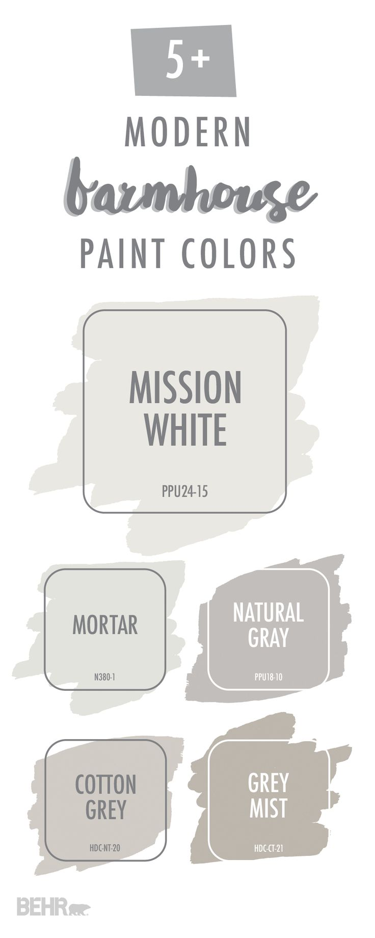 If you're thinking of remodeling your home, why not check out these modern farmhouse paint colors for a little design inspiration. Neutral shades like Mission White, Natural Gray, and Cotton Grey offer a timeless color palette that you can enjoy in your home for years to come. Click here to see how you can use these stylish interior paint colors in your home.