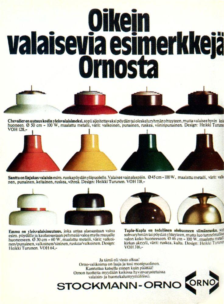 Stockmann-Orno ad with lights (Chavalier, Santtu, Emma, Tupla-Kupla) designed by Heikki Turunen. Avotakka magazine, 1974.