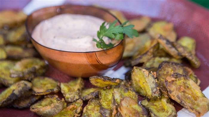 Serve crispy fried pickle chips with smoky dipping sauce for game day