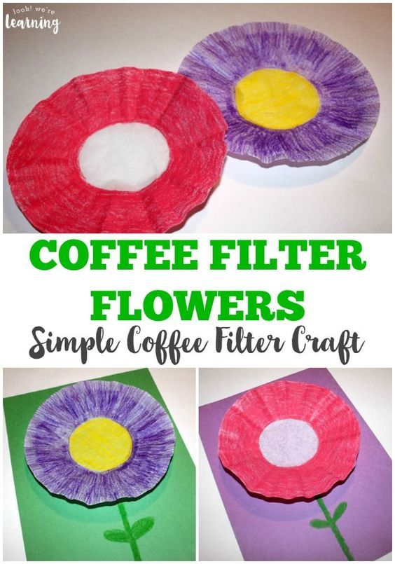 Looking for a simple spring craft? Try this easy coffee filter flower craft kids can make!