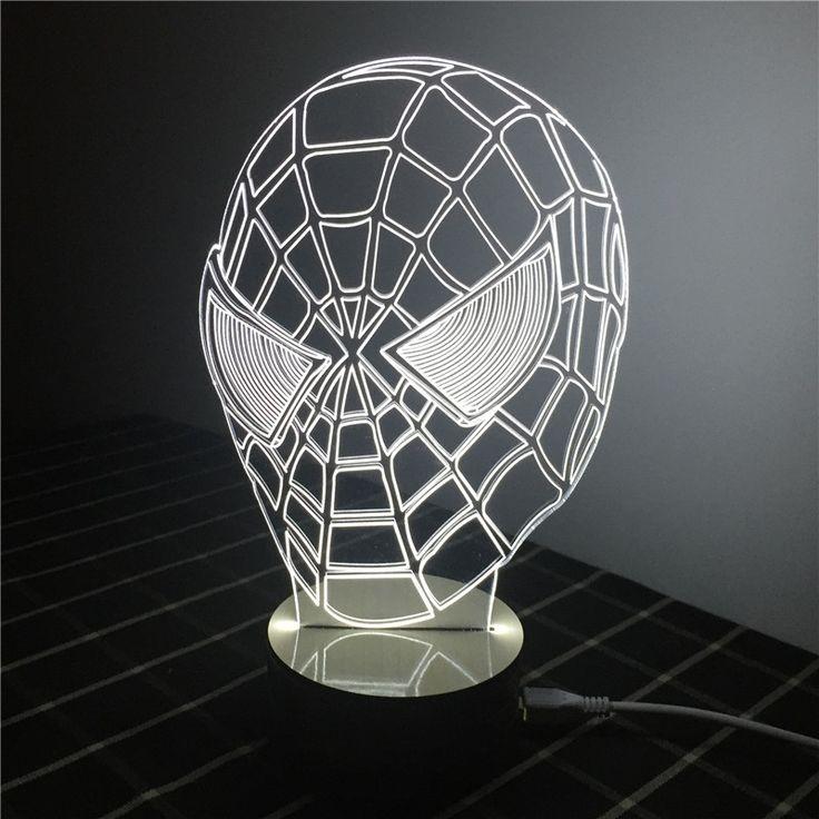 Special Gift fot Children 3D Creative Light Spiderman LED Lamp USB table Lamp…