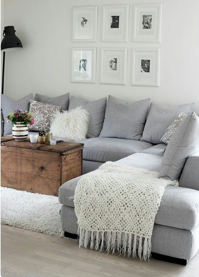 Living room - love the trunk with grey sectional