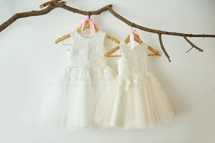 Ivory Lace Ivory Tulle Flower Girl Dress Wedding Bridesmaid