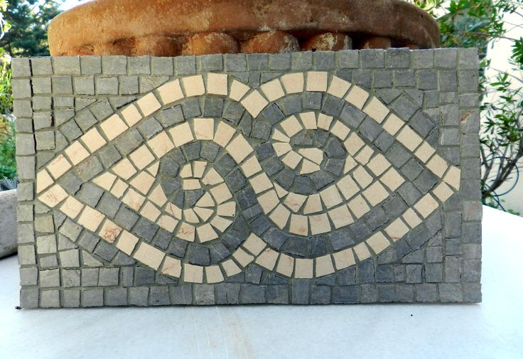 Stone mosaic geometric plaque, decorative mosaic, ready to go mosaic panel.
