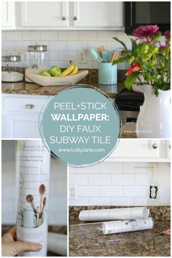 Faux Subway Tile Backsplash Wallpaper Kitchen Wallpaper