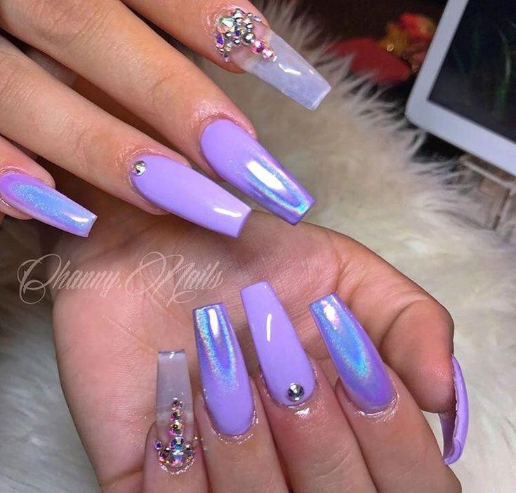 Purple Nails, Holographic Nails
