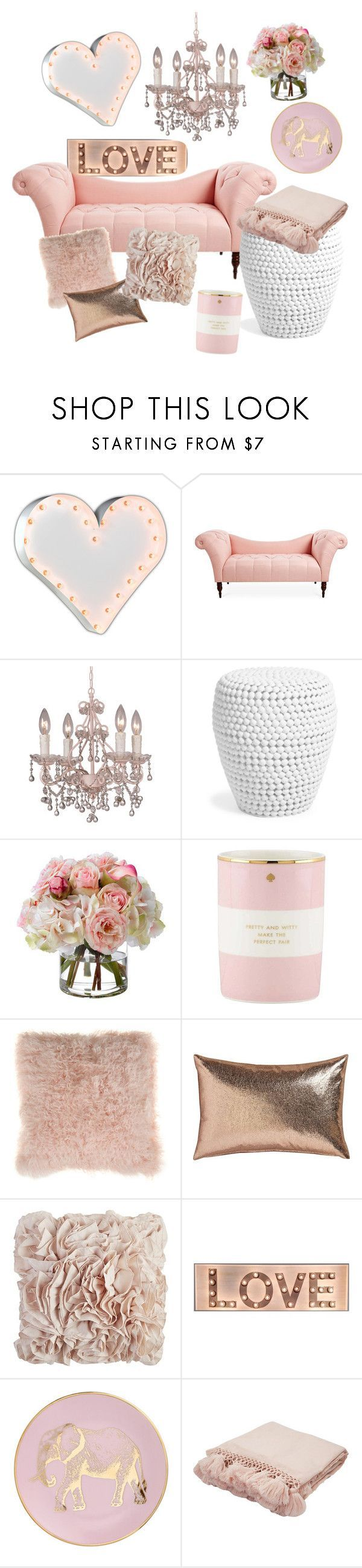 """The love room"" by evelyn-anita ❤️ liked on Polyvore featuring interior, interiors, interior design, home, home decor, interior decorating, Vintage Marquee Lights, Crystorama, Diane James and Kate Spade"