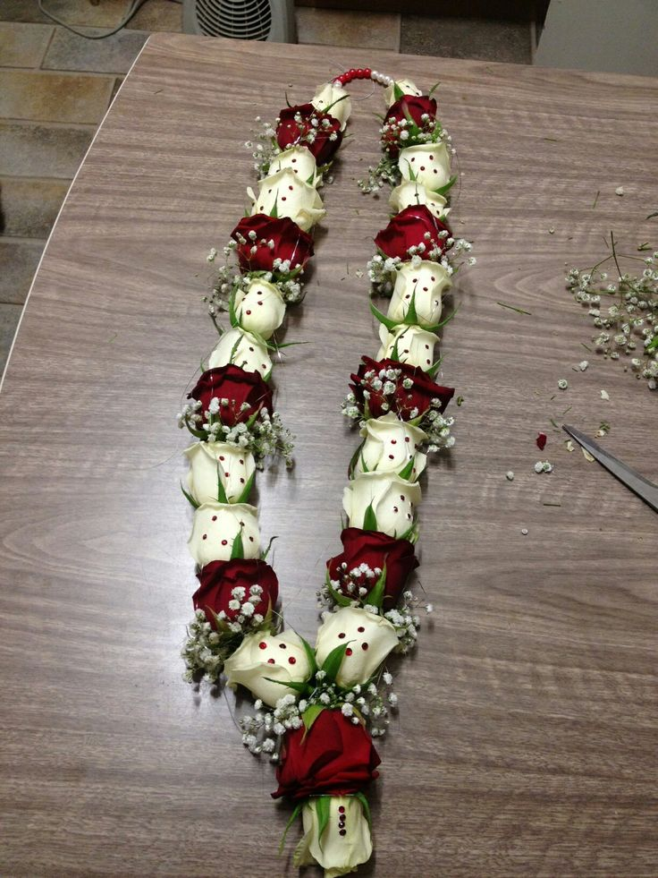 Red and white roses with gems for the extra special wow