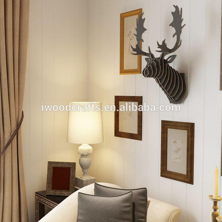 Kayu kepala rusa hiasan dinding, dekorasi rumah, dekorasi kantor