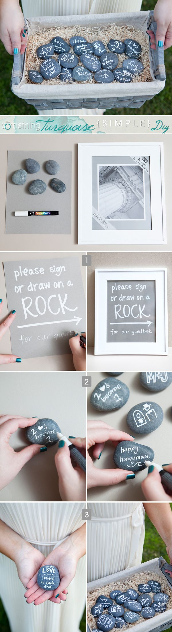 """NEW!!! It's the """"Simple DIY""""... from SomethingTurquoise.com! Have your guests write on smooth lava rocks as your guest book!!! #diywedding #wedding #guestbook"""