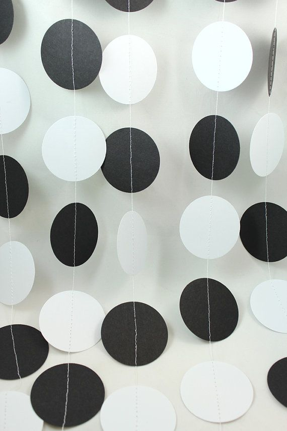 Black and White Affair Big Dots Paper Garland - Party Garland - Birthdays - Celebrations. $8.00, via Etsy.