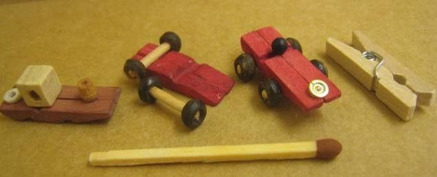 mini boats and cars from clothes pins..cute and clever